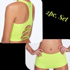 PINK Ult. Strappy Sports Bra & Shorts Set NEW